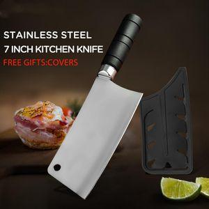 Bir Koruyucu Kapaklı Aksesuarlar Pişirme Çin Cleaver Doğrama Kemik Bıçak Yüksek Kaliteli Paslanmaz Çelik Mutfak Bıçakları