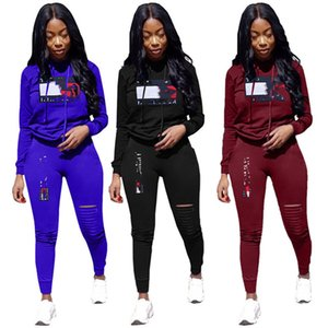 Frauen plus Größe riss 2-teiliges Set Trainingsanzug Herbst Winterkleidung Hosen Sportbekleidung Pullover Leggings Outfits Oberbekleidung Bodysuit 1796 laufen
