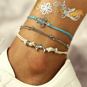 Женщины Starfish подвески ножного Bohemian девушка шарики Shell ножного Bohemian Леди путешествие Нарушение Jewelry Christmas Party Gift TTA1242