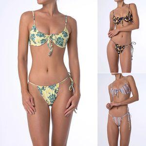 2019 HISIMPLE nouvelles femmes costume sexy bandage croix bikini imprimé fleur maillot de bain push up maillot de bain licou set bikini séparé