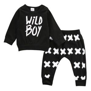 2 PCs Toddler Nouveau-Né Bébé Garçons Enfants À Manches Longues Coton Lettre T Shirt Tops + Pantalon Long Enfants Infantile Vêtements Outfit Sunsuit