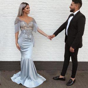 Tassel Silver Mermaid Prom Dresse Illusion Neck Lace Appliqued Beads Satén Vestido de noche Largo tren de barrido Vestido formal