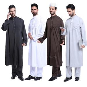 2шт Рамадан Исламский традиционный Джубба Тобе мужчины мужчины мусульмане твердые кнопки стенд арабский Дубай ткань воротник твердые брюки Абая комплект