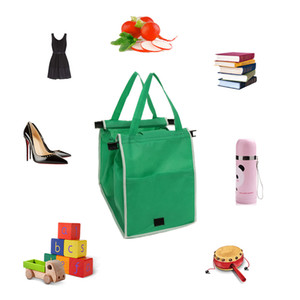 Yeşil Ecofriendly Katlanabilir Alışveriş Çantası Bakkal Çanta Kumaş Alışveriş Taşıyıcı Klip-To-Cart Süpermarket Büyük Kapasiteli Tote XD23222