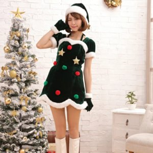 Women's Christmas Costume Christmas Party Cosplay Fancy Dress Sexy Green Dress and Hat