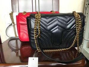 5A نساء Marmont حقائب الكتف النساء الفاخرة الذهب سلسلة حقيبة crossbody حقائب اليد قلوب مصمم جودة عالية الإناث رسالة حقيبة 26CM
