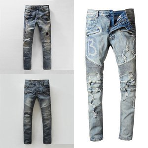 HOT 2020 NewBalmainMens Проблемные Ripped Байкер Mens случайные джинсы Slim Fit Motorcycle Biker Denim Для Man S Black налить Hommes