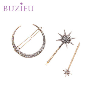 BUZIFU 3 PC Set New Fashion Women Hairpins Girls Star Heart Hair Clip Delicate Pin Hair Decorations Jewelry Accessories UD210