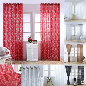 Sheer Curtains Floral Room Door Sheer Voile Window Valances Panel Drape Curtain Tulle Scarfs Window Screens Leaf Bubble Cut Flower Screen