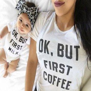 aile giysi 2018 tişört mektup baskı kısa kollu Ebeveyn Çocuk yaz kıyafetler Eşleştirme sevimli aile anne çocuk