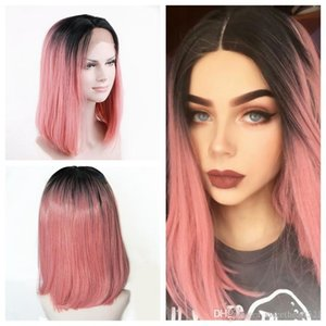 Glueless Synthetic Lace Front Wigs Black Roots Ombre Pink Short Straight Wigs for Women 3inch Middle Parting Bob Style Heat Resistant Fiber