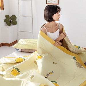 legal látex amarelo fibra colchas 1pc lavado edredão de algodão de verão suave Patchwork Quilt roupa de cama 200 * 230 centímetros lance cobertor 2020 novo