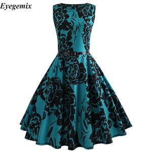 빈티지 드레스 2018 플라밍고 인쇄 여름 드레스 여성 50s 60s 꽃 민소매 파티 Vestidos Mujer 대형 스윙 드레스 Y19012201
