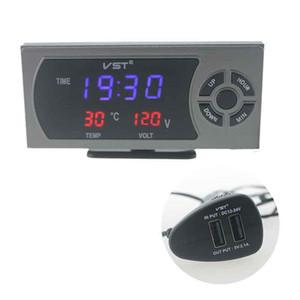 Medidor Cargador automotriz termómetro digital del coche Temperatura Alarma USB