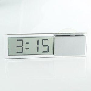 Car Electronic Clock Mini Durable Transparent LCD Display Digital with Sucker Wall Clocks