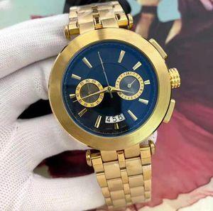Relógio Masculino Novo Designer de Vestidos de alta qualidade Fashion Black Dial Bracelete De Ouro calendário dobrável fecho Mestre Casal de presentes masculino