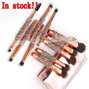 Set de 10 piezas profesionales de sombra de ojos Blush Makeup Brushes Set Foundation Blending Powder Eyeshadow Contour Concealer Blush Cosmetic Makeup