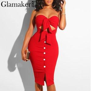 Glamaker Strapless hohlen sexy Kleid mit Frauen Rote Fliege Split midi Partei, figurbetontes Kleid Eleganter schwarzer Club Taste kurzes Kleid Y200101