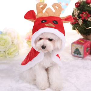 Dog Clothes Winter Warm Christmas Elk Cloak Cosplay Costume Winter Cotton Hooded Poncho Coat Warm Xmas Dogs Puppy Clothes