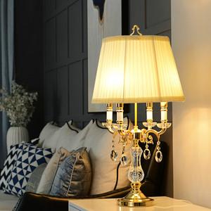 Modern Luxury forma clara Crystal abajur de cabeceira quarto Desk Lamp D40cm H70cm clássico Decoração moderna LED Lamp Table