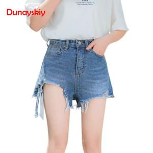 Dunayskiy Mulheres Summer Blue alta cintura solta Moda Denim Shorts Casual Irregular Frayed Borda da fêmea que usa shorts com borla