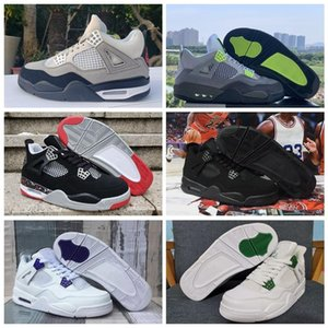New Purple Green Metallic 2020 Black Cat Fire Red OVO Bred 4 4s Tiger Rasta Neon Mens Basketball Shoes Outdoor Sports Sneakers