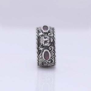 Fábrica de atacado S925 prata esterlina anel de cabeça do tigre inlay anel do punk jóias dom amante anel velho dos homens senhoras maré retro