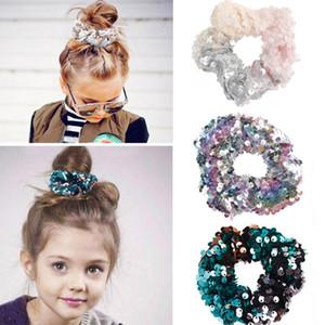Denizkızı Geri Döner Pullu Kafa Çocuk Hairband Prenses Saç Kravat Charm Elastik Scrunchie At Kuyruğu Çocuklar Saç Aksesuarları TTA1767