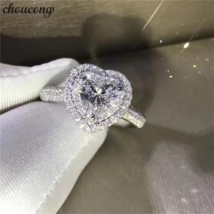 Choucong Kalp Şekli Takı 100% Gerçek Topraklar 925 ayar Gümüş yüzük Elmas Cz Nişan Düğün Band Yüzükler Kadınlar Için Gelin