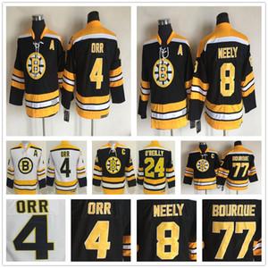 Niños Vintage Boston Bruins 4 Bobby Orr Hockey Jersey 8 Cam Neely 77 Ray Bourque 24 Terry O'Reilly Youth Boy Chico Retro CCM Black Jerseys