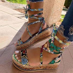Women Platform Sandals 2020 New Fashion Snakeskin Buckle Strap Mid Heel Shoes Wedding Party Dress Female Sandals Shoes 35-43 T200529