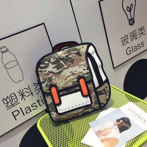 Nouveau Casual Mode Cute Quadratic Element Cartoon Toile à la main Sac à dos pour Fille Garçon Unisexe Schoolbag
