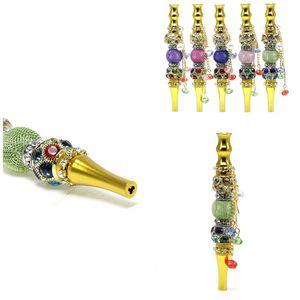 Gold Cigarette Holder Pendant Round Filter Tip Hookah Shisha Male Lady Creative Metal Smoking Pipes NewArrival 14 5mt D2