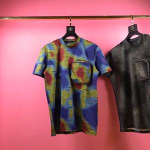 20SS Ins Hot outono inverno mais recente estilo de flor de moda 3D letras camisa de harmonização de cores casuais t