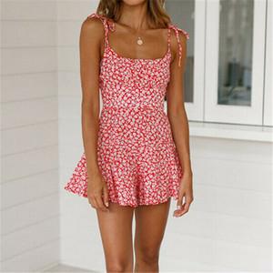Sexy frauen boho floral bedruckte sommerkleid 2019 partyabend strand urlaub hosenträger kurzes minikleid ärmelloses sommerkleid s-xl