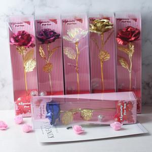 día Valentine'day regalo Una rosa con la luz claveles flores de regalo de la madre Mejor Valentín regalo del día de las flores artificiales 1pcs / lot XD23068