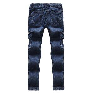 Blau Herren Bleistift-Jeans mit gefaltetem Regular mittleren Taillen-Designer Herren Pants Cotton Tether Männlich Kleidung