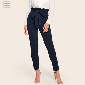Marine Pantalon élégant Paperbag volantée ceinturé solides Pantalon taille haute taille Femmes Mode Garniture taille élastique carotte