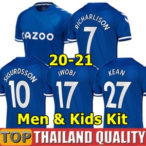 Everton 20 21 maglie calcio RICHARLISON KEAN SIGURDSSON Football Shirt set 2020 uniformi 2021 Tosun WALCOTT Thailandia Everton Uomini Kids kit