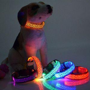 LED Dog Collar Flashing In Dark 3 Mode Lighting Safety Adjustable Nylon Leopard Pet Collar Luminous Pet Accessories