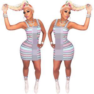 2019 Designer de Mulher Vestidos de Verão Cor Contraste Stripe One-Piece Bodycon Vestido de Mulheres de Luxo Saias Curtas Vestido de Festa Roupas C61907