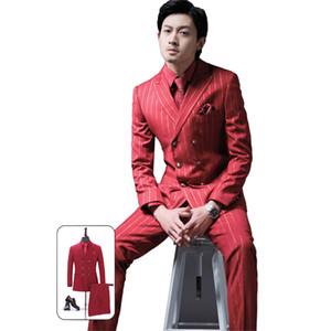 Bridalaffair Classic striped suit men's formal business slim suit Terno homens groom tuxedo wedding suit men's sets(blazer+pants)