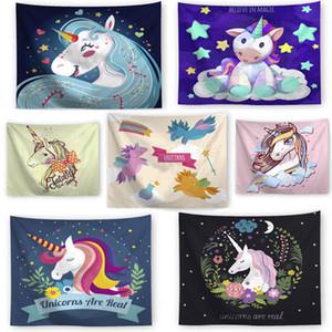 Çok renkli Magic Karikatür Unicorn Duvar Asma Goblen Plaj Havlusu Piknik Battaniye Yoga Minderi Yatak örtüleri Yatak Odası Ev Moda Dekor
