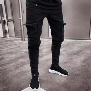 Cepler Gençler İnce Pantalones ile Yeni Erkek Jeans Moda Siyah Renk Ripped Sıkıntılı Delikler Jean Kalem Pantolon