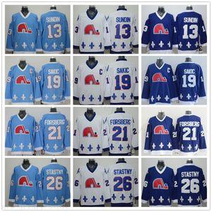 Vintage CCM Quebec Nordiques Trikots Eishockey 13 Mats Sundin 21 Peter Forsberg 26 Peter Stastny 19 Joe Sakic genähtes Marine-Blau-Weiß