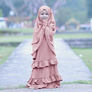 Muslim abito Kid Abaya per la ragazza Dubai caftano islamica Abbigliamento per bambini Ramadan preghiera Jubba Medio Oriente Hijab abito turco