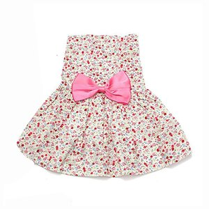 Country style Small floral pet dress Pink M Dog Apparel