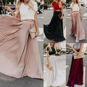 Saias Womens Vintage Chiffon Malha Cintura alta cor sólida longa Maxi saias plissadas Metade Comprimento Praia Saias Outono Womens