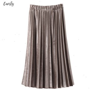 New 2020 Fashion Women Long Metallic Silver Maxi Pleated Skirt High Waist Elascity Casual Party Skirt Good Quality Drop Shipping