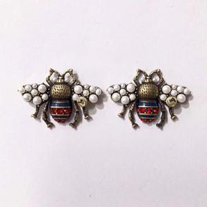Gioielli di moda di marca perla dell'ala Bee Orecchini di perle Orecchini Orecchini d'ottone progettista di alta qualità dell'annata 2020